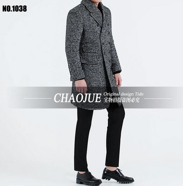 Winter trench coat Men's Fashion Slim Medium-long Woolen Coat  Big Lapel Wool coat overcoat  S-5XL free shipping