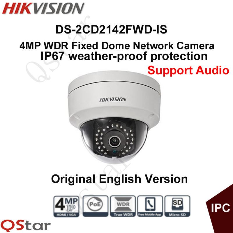 Hikvision Original English Version Security Camera DS-2CD2142FWD-IS CCTV Camera 4MP Dome IP Camera P2P Onvif POE Audio/Alarm hikvision original english cctv camera ds 2cd2142fwd is 4mp fixed dome ip camera poe audio ip67 junction box ds 1280zj dm18