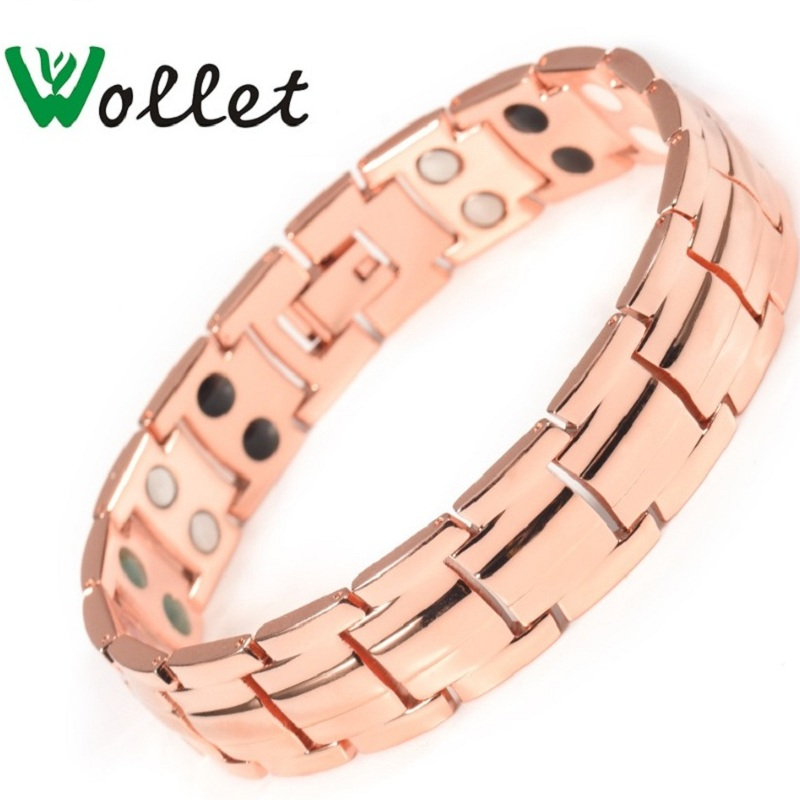 Wollet Jewelry Magnetic Copper Bracelets for Men Women Healing Health Energy Anti Arthritis Pain Relief All Magnets or 5 in 1