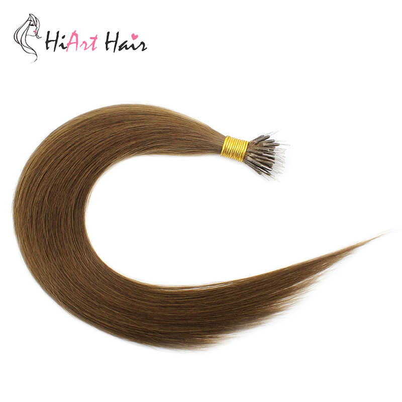 HiArt 0.8g/s Nano Rings Hair Extensiona In Human Remy Hair 2020 Micro Ring Double Drawn Hair Nano Extensions Straight Factory