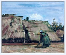 Peasant Woman Digging in front of her Cottage by Vincent Van Gogh Handpainted