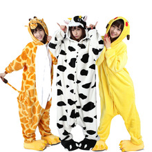 Large Size XXL Animal Kigurumi Adult Cartoon Pajamas Flannel Women Onesie Cosplay Clothing Halloween Party Jumpsuit Sleepwear(China)