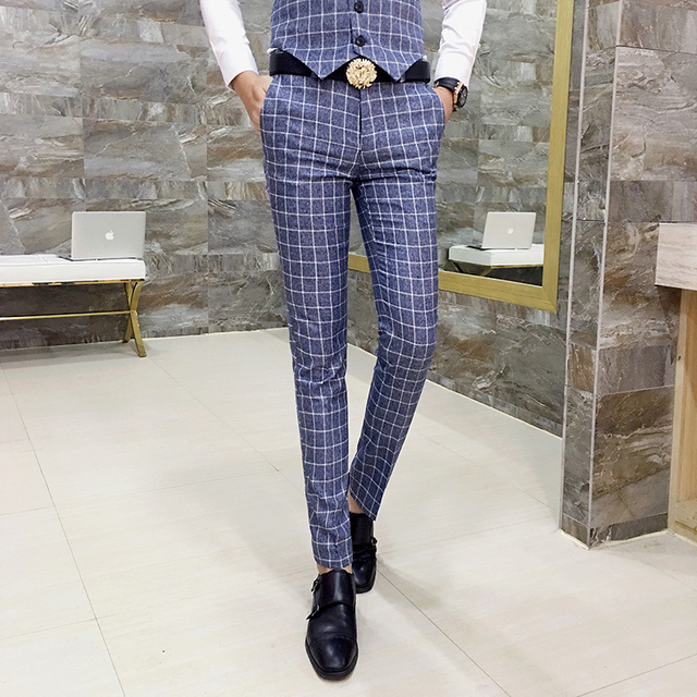 9117b53bf56db2 Mens Checked Pants Slim Fit Men Office Trousers Men Formal Pant Plaid  Pantaloni Uomo Casual Men Dress Suit Pants Pantalon Homme