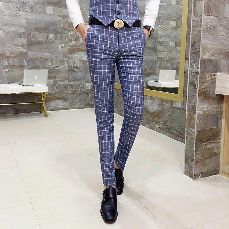 Pantalones a cuadros ajustados para hombre, pantalones de oficina para hombre, pantalones formales a cuadros, pantalones a cuadros, Uomo, Casual, para hombre, pantalones de traje, Pantalon homme