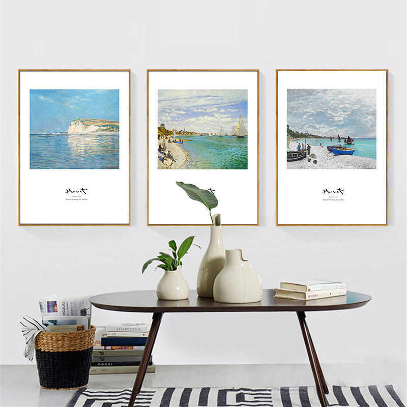 Nordic Art Minimalist Landscape Decorative Paintings Monet Oil Paintings Print on Canvas Beach Scenery Wall Pictures for Bedroom