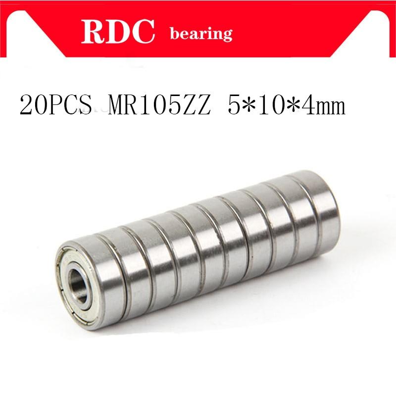 20Pcs ABEC-5 MR105ZZ MR105Z MR105 ZZ L-1050 5*10*4 5x10x4 mm Metal seal Shielded Miniature High quality deep groove ball bearing 10pcs 5x10x4mm metal sealed shielded deep groove ball bearing mr105zz
