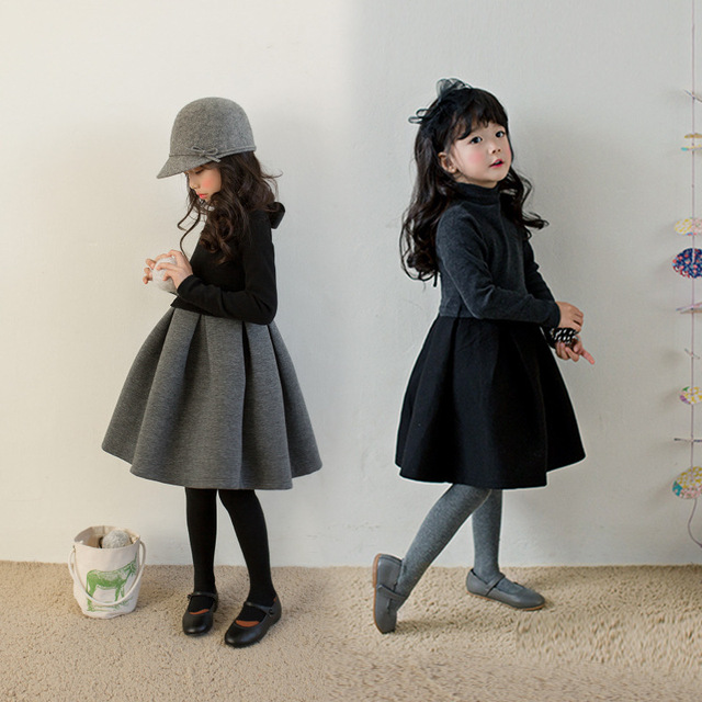 Warm Thick Teen Christmas Dress Girl Gray Black Patchwork Kid Girl Winter Dress For Kids 2018 Party Kids Clothes
