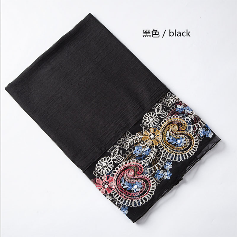 Laven embroider lace floral beads scarves cotton shawls muslim hijab wraps scarf headband autumn scarves 180