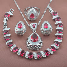 Engagement jewelry Fashion CZ 925 Silver Jewelry Sets Women's Wedding Jewelry Red Stone Bracelet Necklace Earrings Ring YZ0214(China)