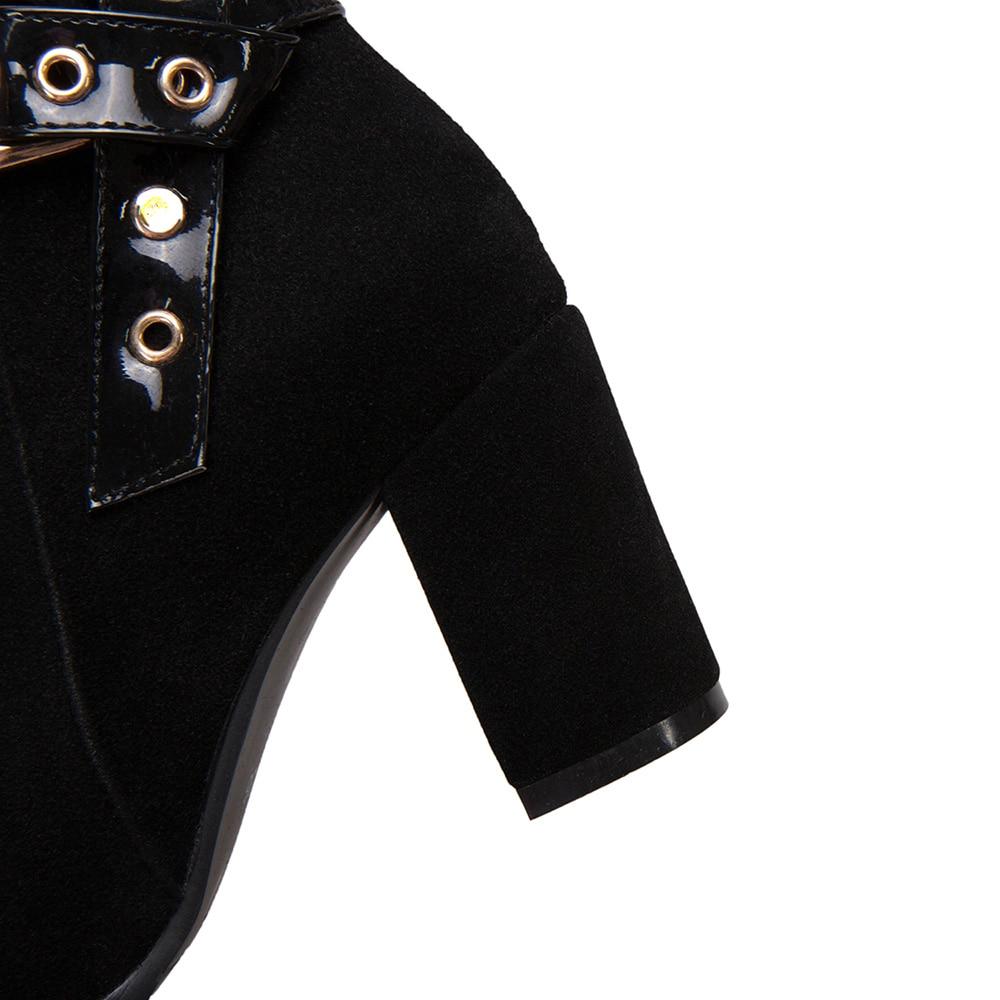 Black black Grande Thick Ep29 Moda De Estrenar 33 2018 Talones 52 Lining Negro Flock Sexy 11 3 Riding A Lady Botines Mujeres Pulgadas 43 Zapatos Tamaño Combate Más U4xFqwSxn
