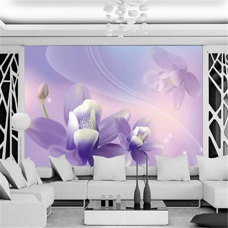 Classic 3D Wall Paper for Walls Elegant Flower Non-Woven Wallpapers Purple Mural Living Room Decorative Wallpapers TV Wall Paper non woven bubble butterfly wallpaper design modern pastoral flock 3d circle wall paper for living room background walls 10m roll
