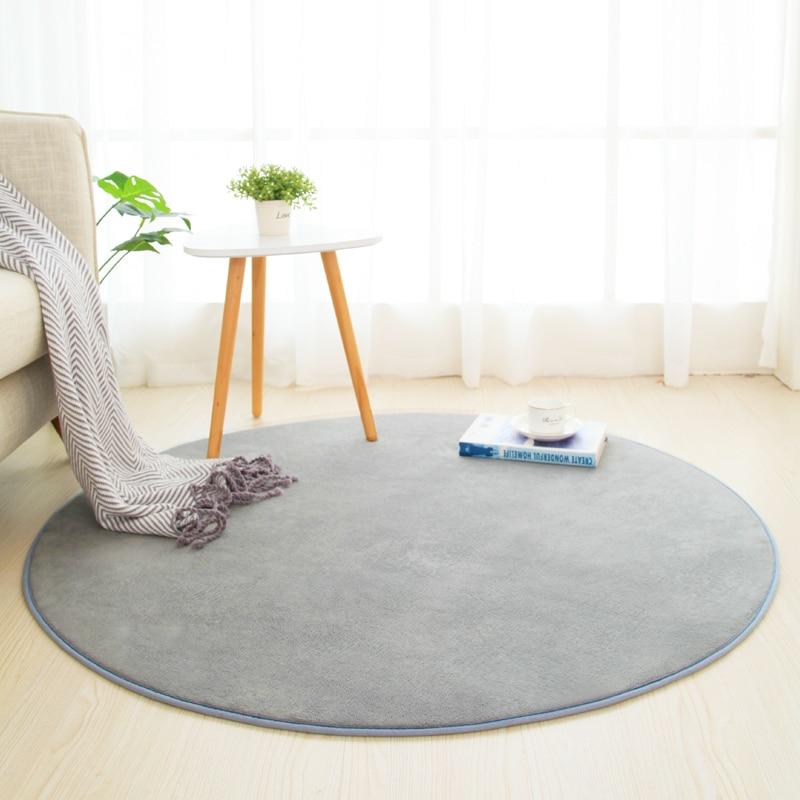 Round Solid C Fleece Bath Mat Rug