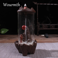 WOURMTH Ceramic Backflow Incense Burner Creative Home Decor large waterfall Incense Holder Censer + 10Pcs Incense Cones