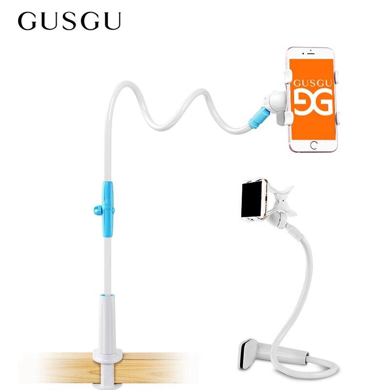 GUSGU sostenedor del teléfono flexible largo brazo de soporte para teléfono móvil soporte perezoso para iPhone 7 teléfono celular titular escritorio para teléfono de mesa