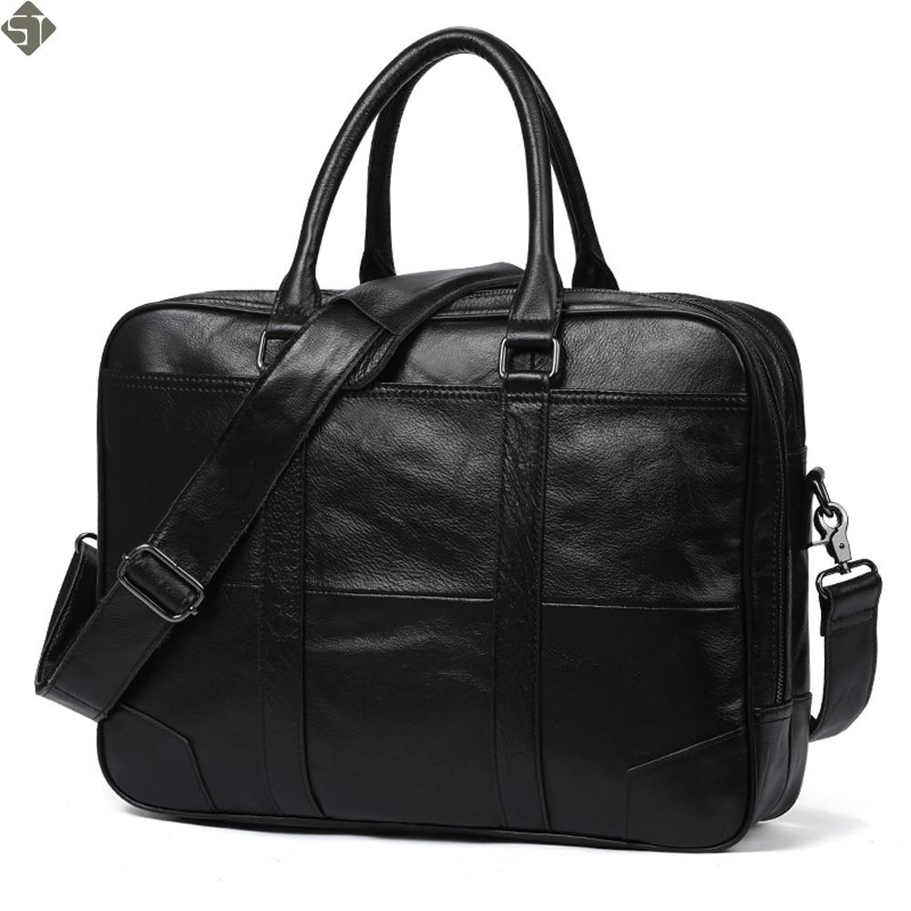 New Genuine Leather Guarantee Briefcase Men Bag Laptop Soft Cowhide Messenger Bag Handbag Bag Business One Shoulder Bags цена 2017
