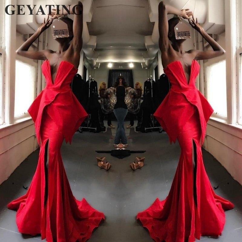 Сексуальное с v-образным вырезом с высоким разрезом красное вечернее платье Русалка 2019 элегантное женское длинное атласное Африканское Фор...