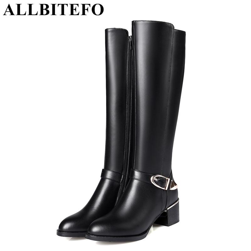 ALLBITEFO metal charm genuien leather+pu thick heel women knee high boots casual medium heel winter snow boots women boots