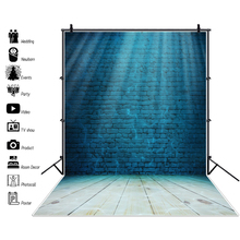Laeacco Stage Backdrops Blue Brick Wall Bright Spotlight Wooden Floor Party Baby Photographic Backgrounds Photocall Photo Stuido