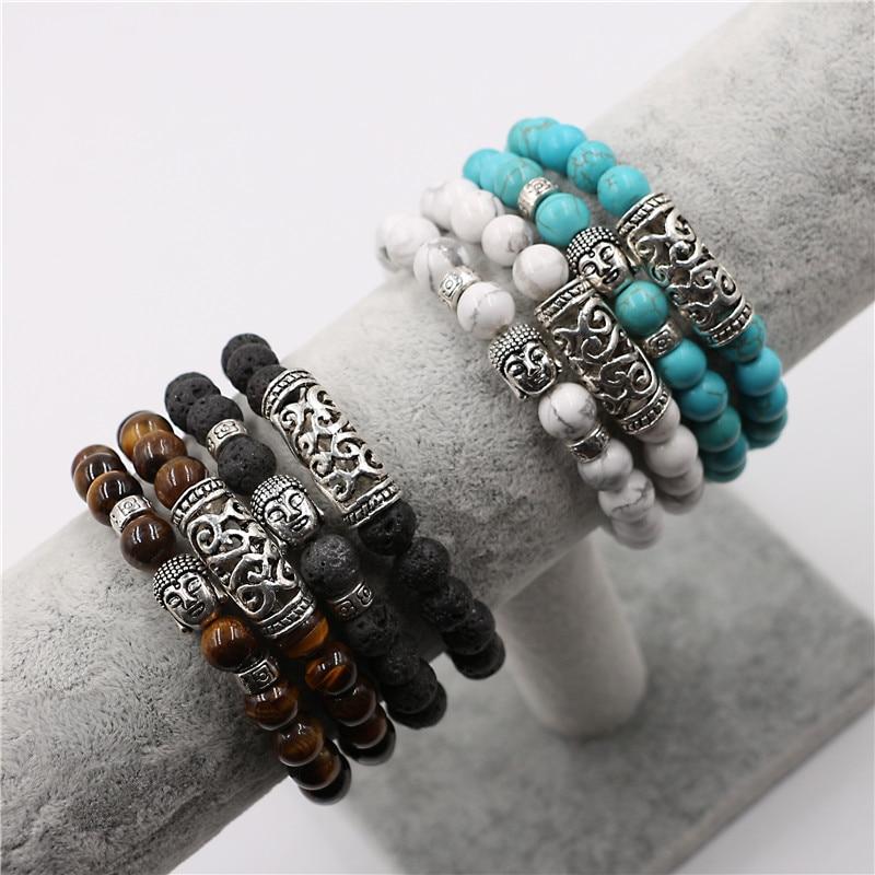 Buddha Natural Stone Beaded Bracelet 2 Pcs Set 6