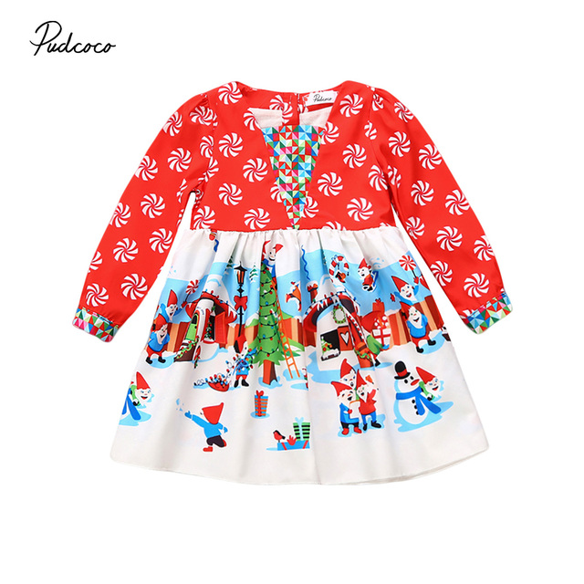 a24d3e78af35b US $4.25 9% OFF|pudcoco Newest Arrivals Hot Infant Newborn Toddler  Christmas Baby Girls Santa Snowman Fancy Dresses Lovely Girls Sweet  Dresses-in ...