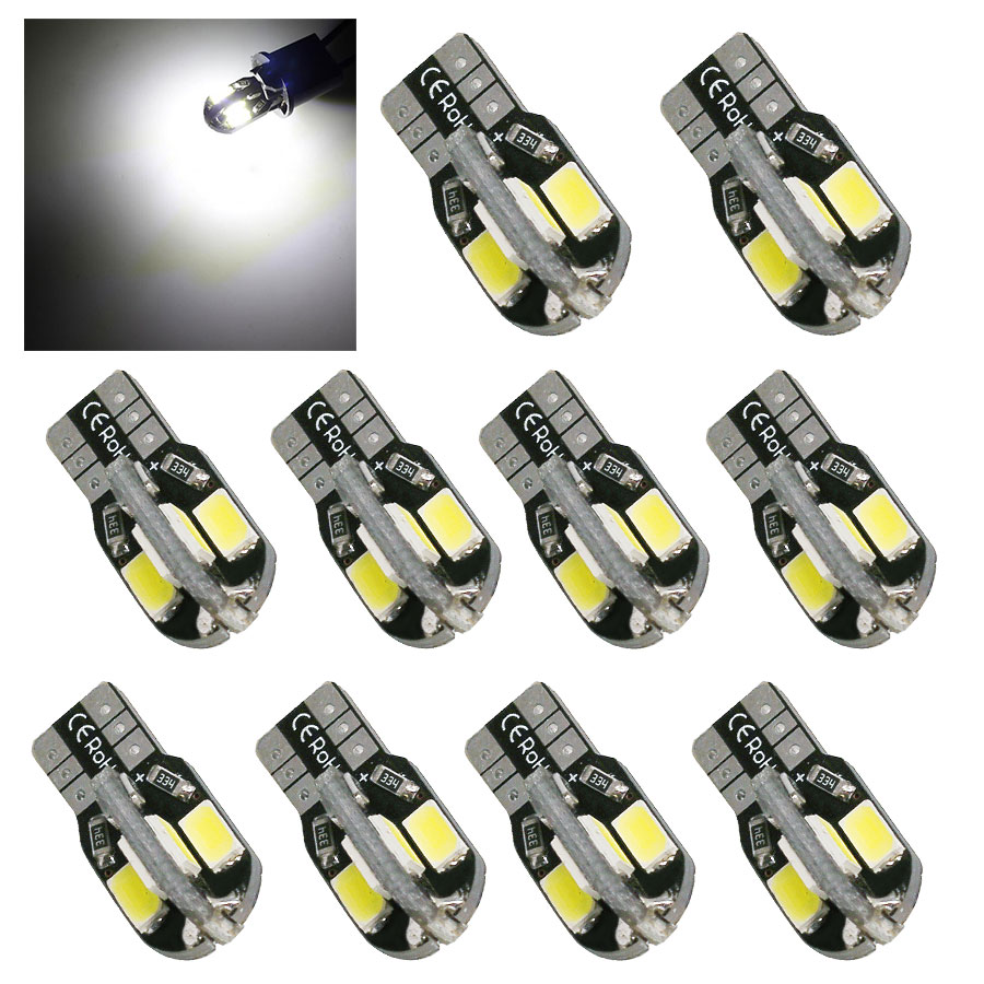 10Pcs Super Bright T10 W5W Canbus Led Light 194 168 5730 T10 8SMD 5630 NO ERROR Car Auto Bulbs Indicator Light Parking Lamp 12V t10 3528 3w white light 21 led car signal light bulbs 2 pack dc 12v