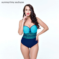 Retro Plus SizeSwimming Suit Summer Padding Gather One Piece Swimsuit Adjustable Straps Big Breast Bathing Suit