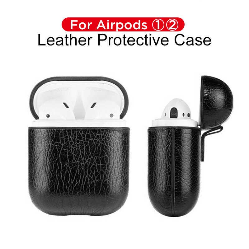 Luksusowa torba dla Apple AirPods bezprzewodowa słuchawka Bluetooth skórzane etui pokrywa dla powietrze 1 2 Funda pokrywa okno ładowania przypadkach