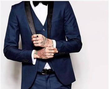 Custom Made One Button Navy Blue Groom Tuxedos Groomsmen Best Man Suit Wedding Men's Suits Bridegroom (Jacket+Pants+Vest+Tie+ker