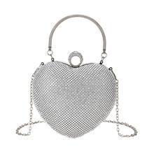 Новые модные женские свадебные вечерние сумки с сердечком, стразы, клатчи на палец, маленькая ручка, цепь, на плечо, вечерние сумочки