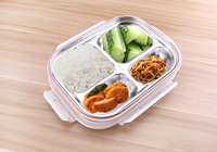 304 Stainless Steel Japanese Lunch Box With Compartments Microwave Bento Box For Kids School Picnic Food