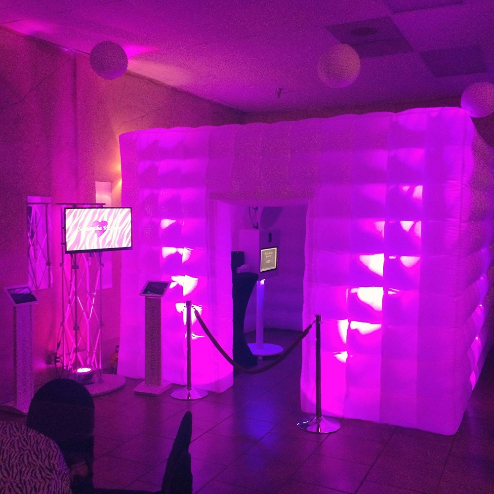 Stagerbooth Inflatable Portable Photo Booth Enclosure with 16 Colors LED Changing Lights Weddings Parties Promotions Advertising