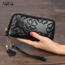 AOEO Girls Wallet Phone Pockets Large Capacity Genuine Leather Purse For Women Clutches Ladies Long Money Bag Wallets Female