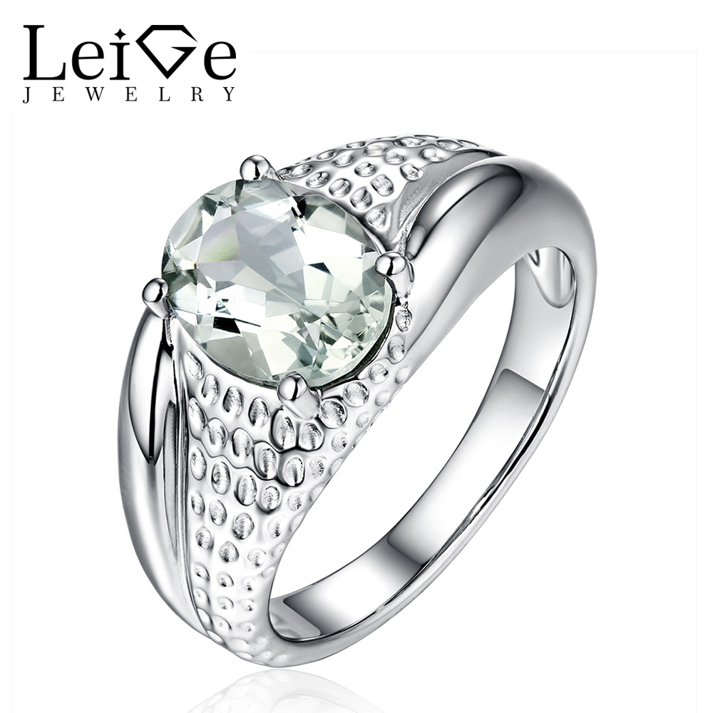 Leige Jewelry Natural Green Amethyst Ring Solitaire Oval Cut Gemstone 925 Sterling Silver Engagement Ring for Her Fine Jewelry leige jewelry solitaire ring natural green amethyst ring round cut wedding ring gemstone 925 sterling silver ring gift for women