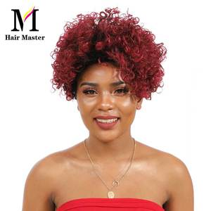 Image 5 - Short Curly Human Hair Wigs Afro Kinky Curly Human Hair Short Wigs Remy Hair Ombre Color for Black Woman