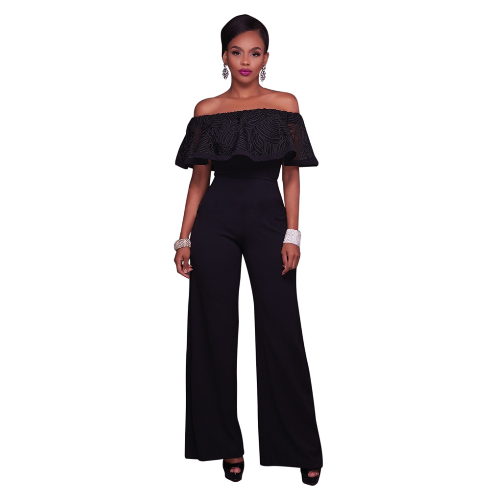 Elegant Rompers Womens Jumpsuit Off The Shoulder Lace Ruffles short Sleeve Wide Leg Jumpsuit Black Club Party Women Overalls