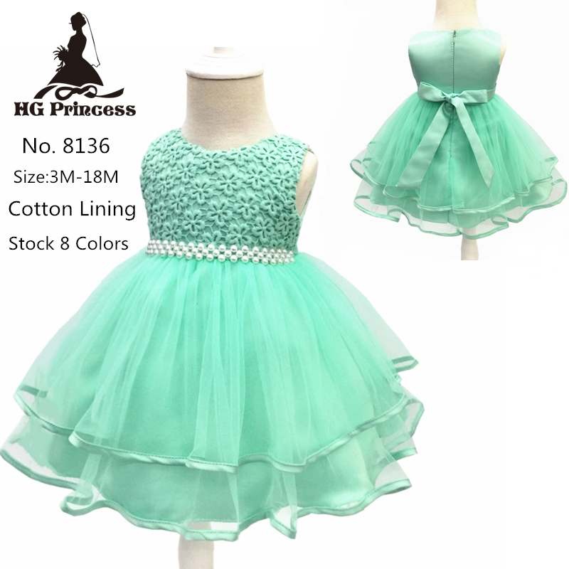 Hot Sales Cotton Lace Infant Dresses 2018 New Style Mint Green Baby Dress For 1 Year Girl Birthday Formal Toddler Gown Newborns