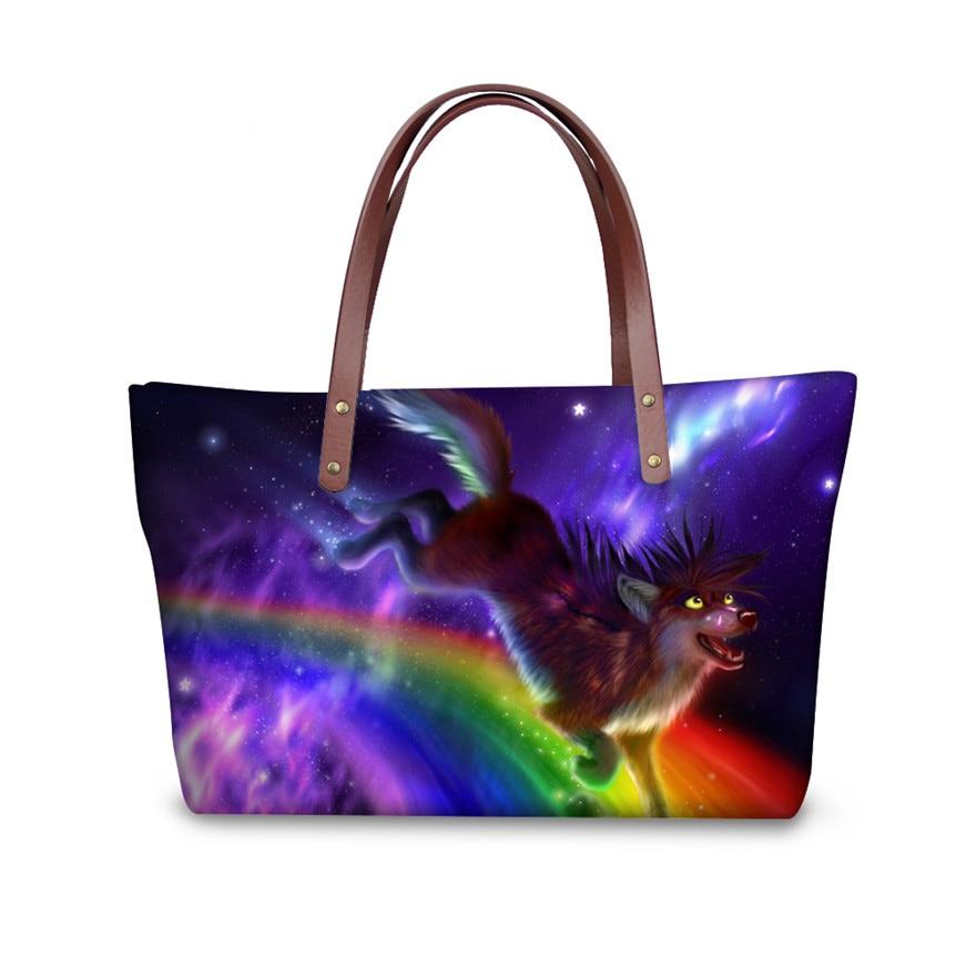 Luxury Designer Women Handbags Animal Wolf Pattern Tote Cross Body Bag for Ladies Shopping Bags Large Messenger Bags
