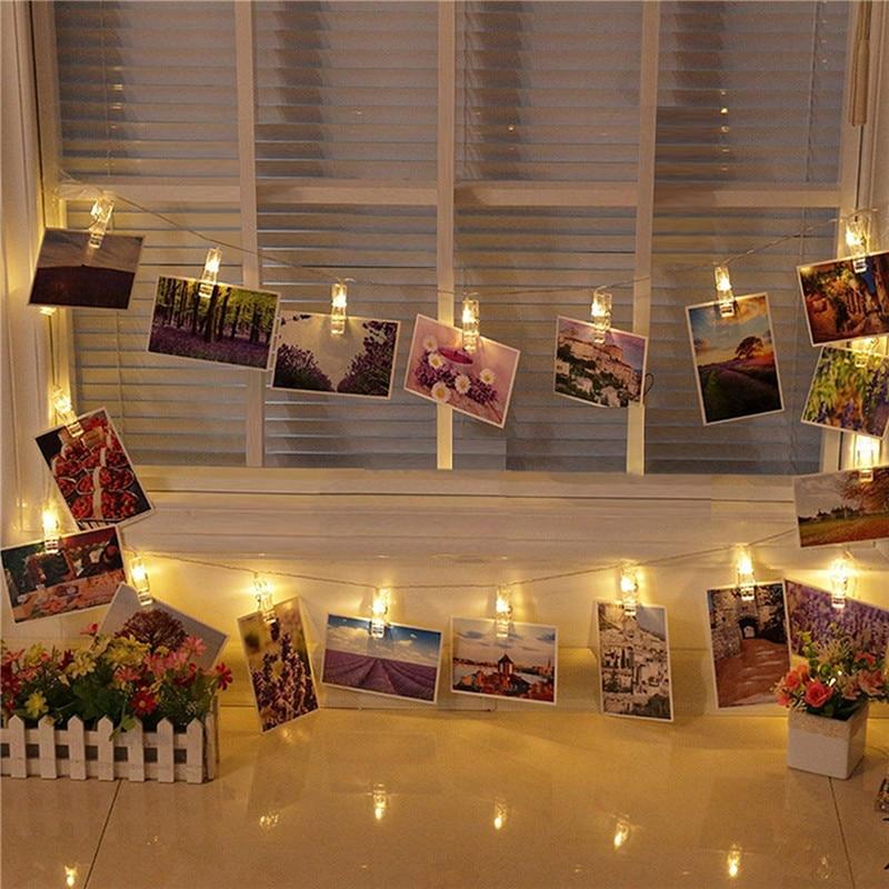 Garland Card Photo Clip String Lights 1.5M 10LEDS Led Fairy Light Xmas Bedroom DIY Clothespin Shapes Battery Christmas Lamp