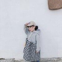 Baby Girl Plus Velvet Sweater Dress Sweatshirts Kids Girls Winter Autumn Patchwork Dresses Plaid Dress Sport Clothes
