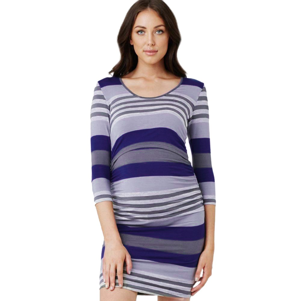 ad056372391 Women Mom Pregnant Nursing Baby Maternity Striped Long Sleeve Dress Clothes  Women Multi Function Mother Breastfeeding Dress-in Dresses from Mother    Kids on ...