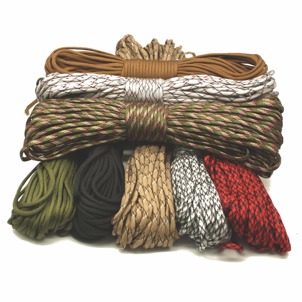 New Arrival Paracord 550 Woven Hanging Parachute Cord Lanyard 7 Strands Ropes Outdoor Tools Mil Spec Type III 100 FT 31 M цена
