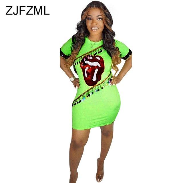 10e0827f45 Labios rojo lentejuelas Sexy T camisa vestido de las mujeres neón verde  manga corta cuello en O Bodycon verano cintura alta Club mini