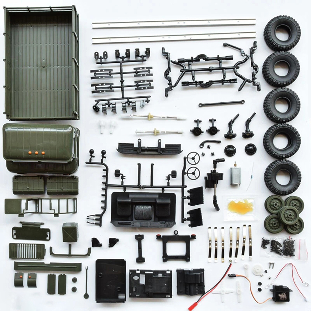 OTTDTY  2019 WPL B - 24 1:16 2.4G Mini Off-road RC Car Military Truck DIY Assembly Models High-performance 4WD System FEB27