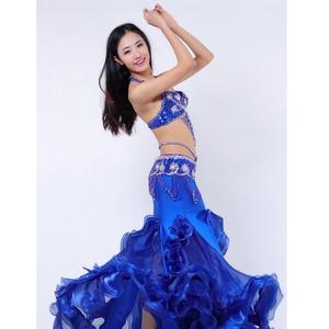 Image 4 - Performance Belly Dancing Costumes Oriental Dance Outfits 3pcs Women Belly Dance Costume Set Bra Belt Skirt