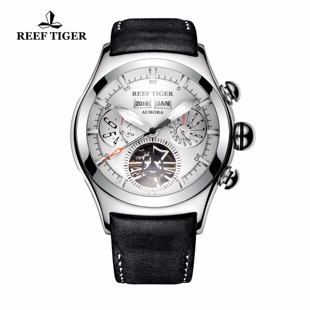 New Reef Tiger/RT Mechanical Watches for Men Steel Tourbillon Analog Watches Genuine Leather Strap RGA7503New Reef Tiger/RT Mechanical Watches for Men Steel Tourbillon Analog Watches Genuine Leather Strap RGA7503