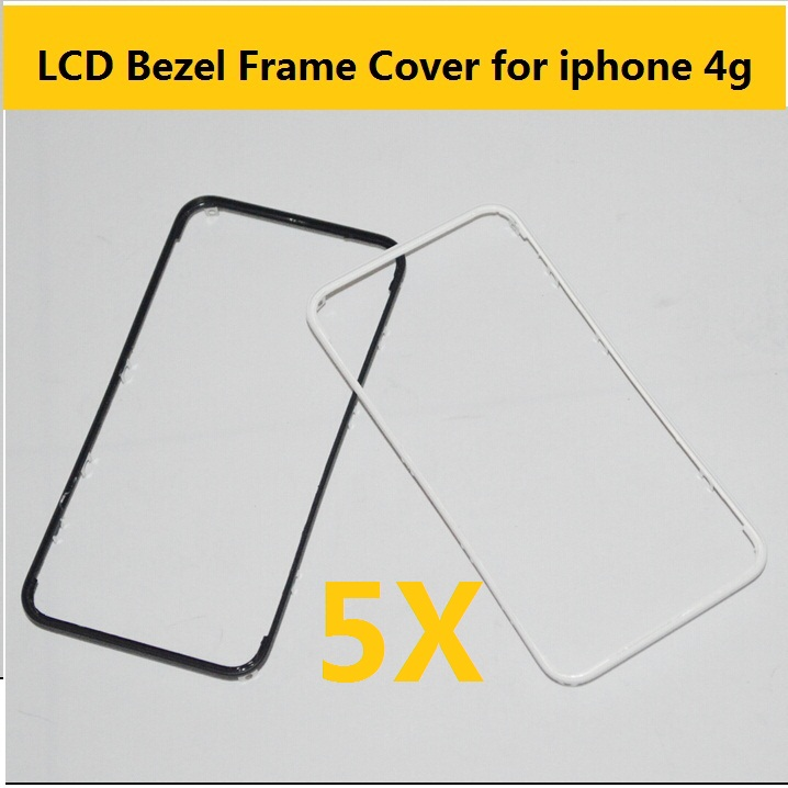 100% top quality Black and White color Front Bezel with LCD Middle Frame Housing Parts Chrome Screen Holder for Apple iphone 4G