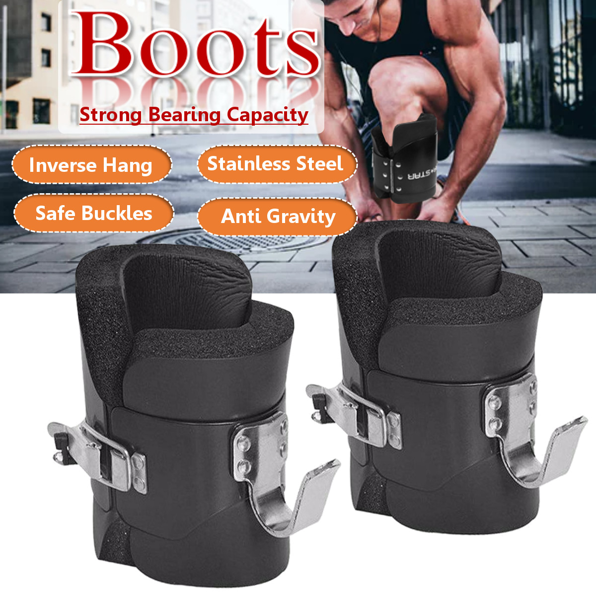 Fitness 1 Pair Anti Gravity Inversion Boots Therapy Spine Ab Chin Up Black New