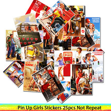 25 Pcs World War II Pin Up Girl Sticker For guitar suitcase fridge laptop stickers waterproof toy sticker(China)