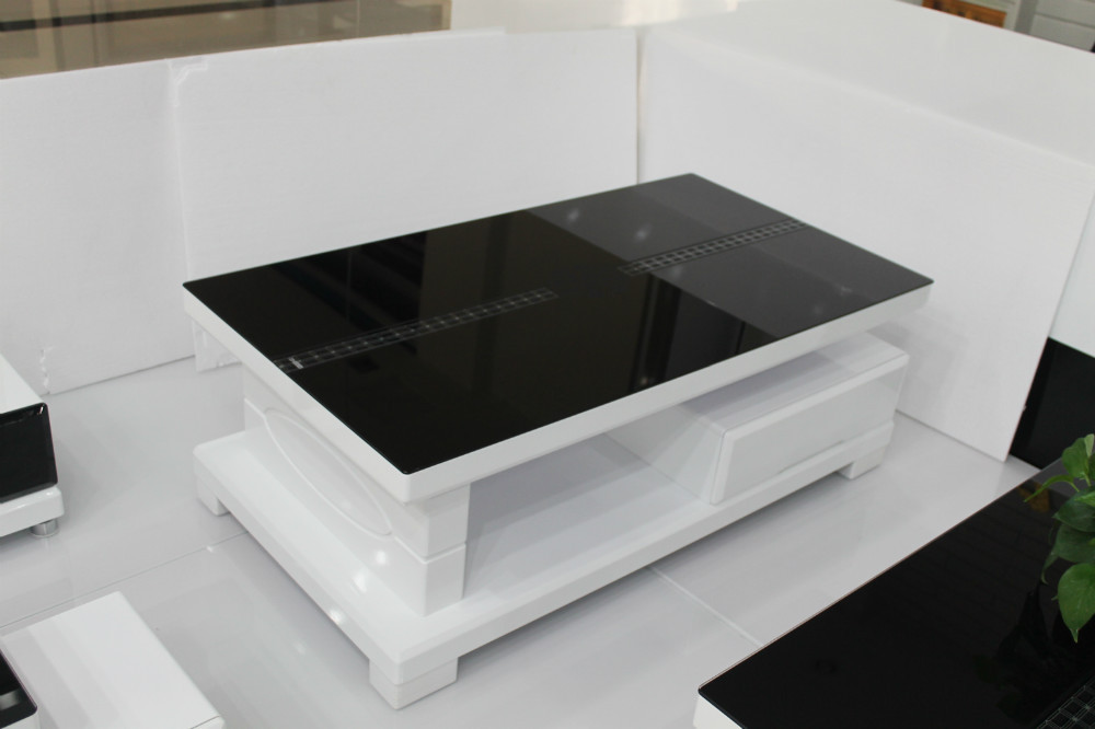Modern minimalist glass coffee table storage coffee table for Black coffee table with storage