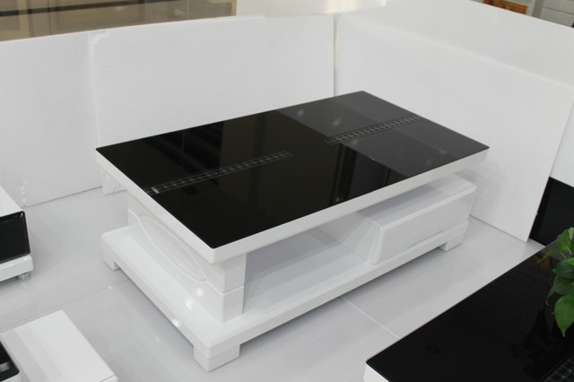 Modern Minimalist Gl Coffee Table Storage Small Black And White Living Room